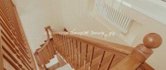 Дубовая П-образная лестница 180 градусов с забежными ступенями