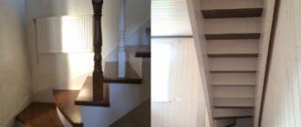 Г-образная деревянная лестница с забежными ступенями на второй этаж