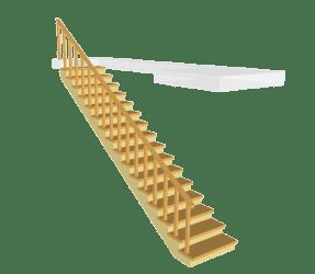 """Сосновая одномаршевая деревянная лестница """"Стандарт"""""""
