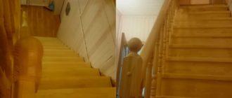 Прямая лестница на второй этаж из сосны