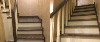 Г-образная лестница 90 градусов из дуба на второй этаж под заказ