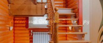 П-образная лестница 180 градусов из сосны с прямыми площадками