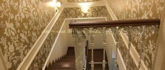Облицовка П-образной бетонной лестницы американским орехом