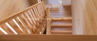 Облицовка П-образной бетонной лестницы буком