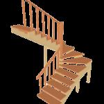 Деревянная поворотная П-образная (180 градусов) лестница с забежными ступенями из дуба