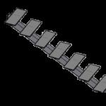 Металлическая трехмаршевая лестница поворотная П-образная (180 градусов) с забежными ступенями на центральном косоуре (открытая)
