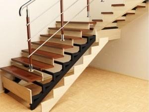 Отделка (облицовка, обшивка) металлической лестницы деревом