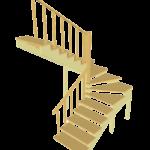 Деревянная поворотная П-образная (180 градусов) лестница с забежными ступенями из ясеня